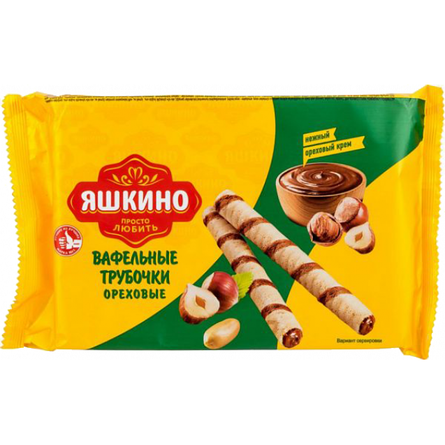 "Waffle tubes filled with cream with nuts ""Yashkino"""