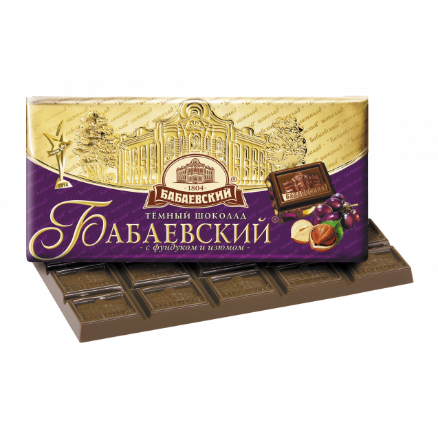 "Dark chocolate ""Babaevskiy with Hazelnut & Raisins"""