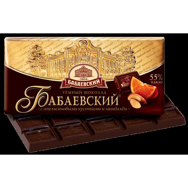 "Dark chocolate ""Babaevskiy with pieces of Orange & Almond"""